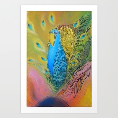 Peacock Art Print by Valerie Parisius - $17.00 www.valerieparisius.com