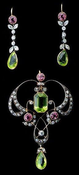 Art Nouveau Peridot, beauty bling jewelry fashion Peridot tourmaline sterling silver