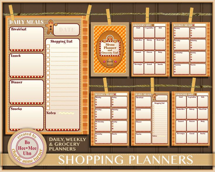 A5 Gingerbread Meal Planner Inserts, Daily, Weekly and Grocery Shopping List Planner Printables. Instant Digital Download. by BoHeeMeeUhn on Etsy
