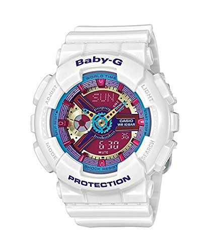 The Casio Baby-g BA-112-7AER is a trendy and fashionable Analogue, Digital-Women's designer watch. The watchband is made of Resin and has a White colour. This fashion Women's watch has a Quartz movement with a dial in the colour Pink. The case is made of