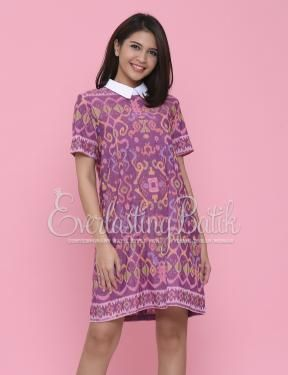 CA.10795 Yosiana Collar Tenun Loose  Dress Catalog