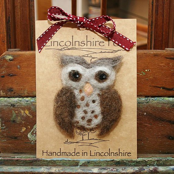 Barn owl brooch  needle felted owl pin  owl jewellery  felt
