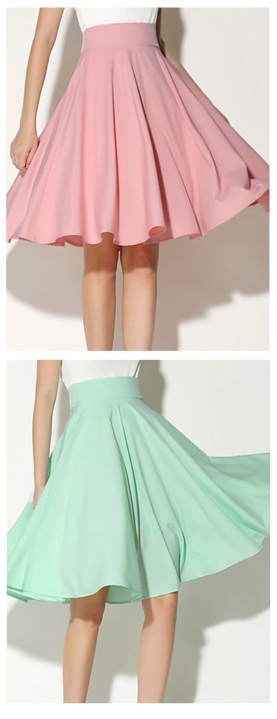 Swing, Baby, swing! A light swing midi skirt in candy colors - pink, mint, ivory at just $12.99.