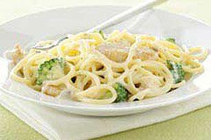 Creamy Chicken Spaghetti recipe  I wouldn't use the cream of mush.  Mebbe some italian cooking creme