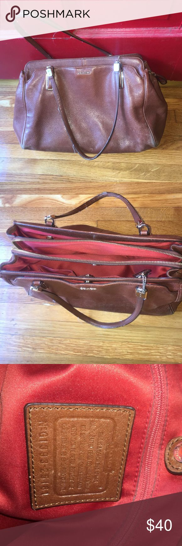 "Coach Briefcase Bag This dark brown & red lined leather Coach bag holds EVERYTHING--even a small laptop if needed. I used this for work conferences. Used but in good condition. STRAP DROP: 10"" ACROSS: 12"" DEPTH: 9"" to inner snap / 10.5"" to top of bag Coach Bags Shoulder Bags"