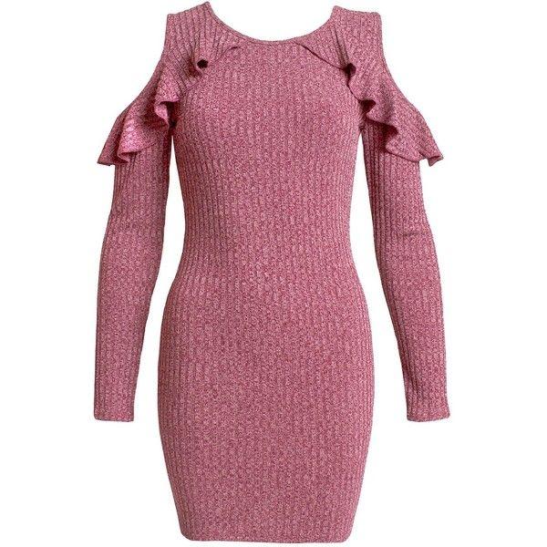 Sans Souci Mauve ruffled knit cold shoulder dress ($45) ❤ liked on Polyvore featuring dresses, mauve, cold shoulder dress, ruffle dress, metallic bodycon dress, metallic dress and purple dress