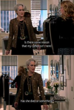 film movie coffee XO cinema Meryl Streep anne hathaway screencaps The Devil Wears Prada Miranda Priestly film still