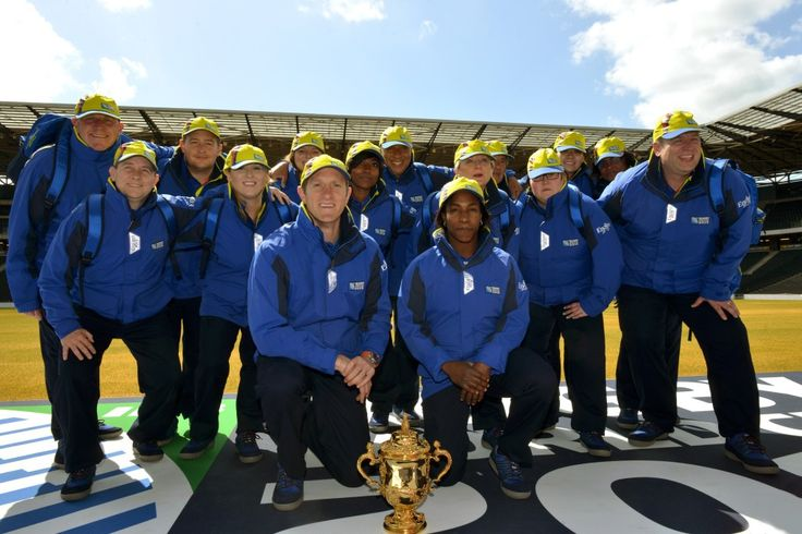 Maggie Alphonsi, Will Greenwood and members of the Pack in the Rugby World Cup 2015 uniform
