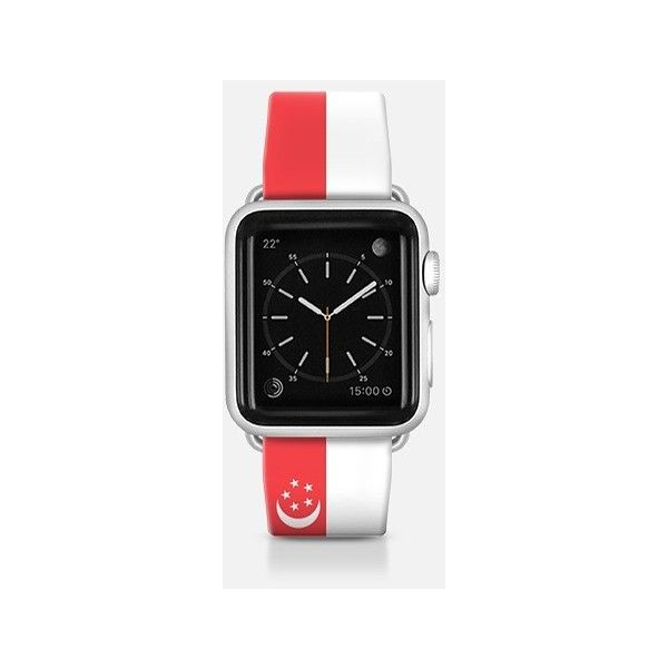 Apple Watch Band - Singapore flag - Patriotic collection ($70) ❤ liked on Polyvore featuring jewelry, watches, apple watch band, apple watches and apple watch