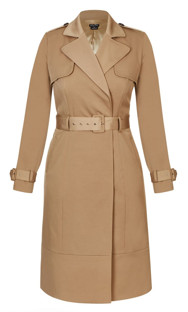 Style By Trend: Electric Frills by City Chic - CLASSIC CAMEL TRENCH COAT#citychic #citychiconline #newarrivals #ootd #plussize #plussizefashion #psootd