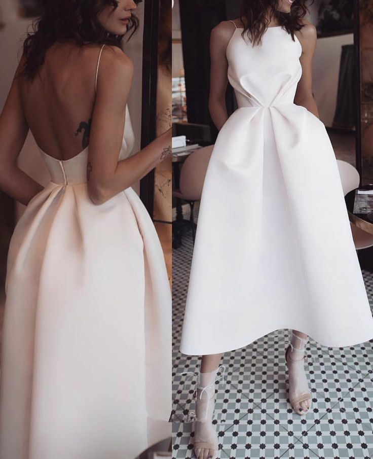 Horny White Open Again Promenade Gown,Tea Size Satin Get together Gown