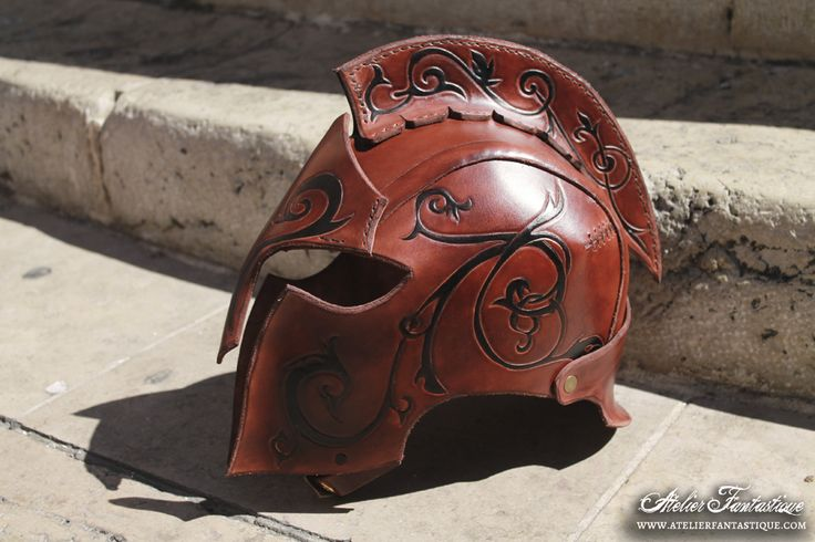 Elfin leather helmet larp armor costume