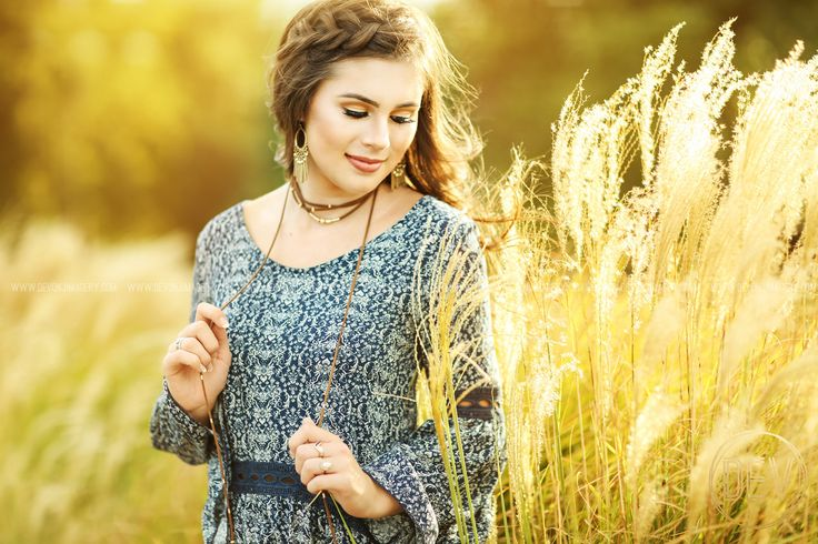 Natural senior picture portrait ideas in tall grass, backlit, golden, glow with choker and braid