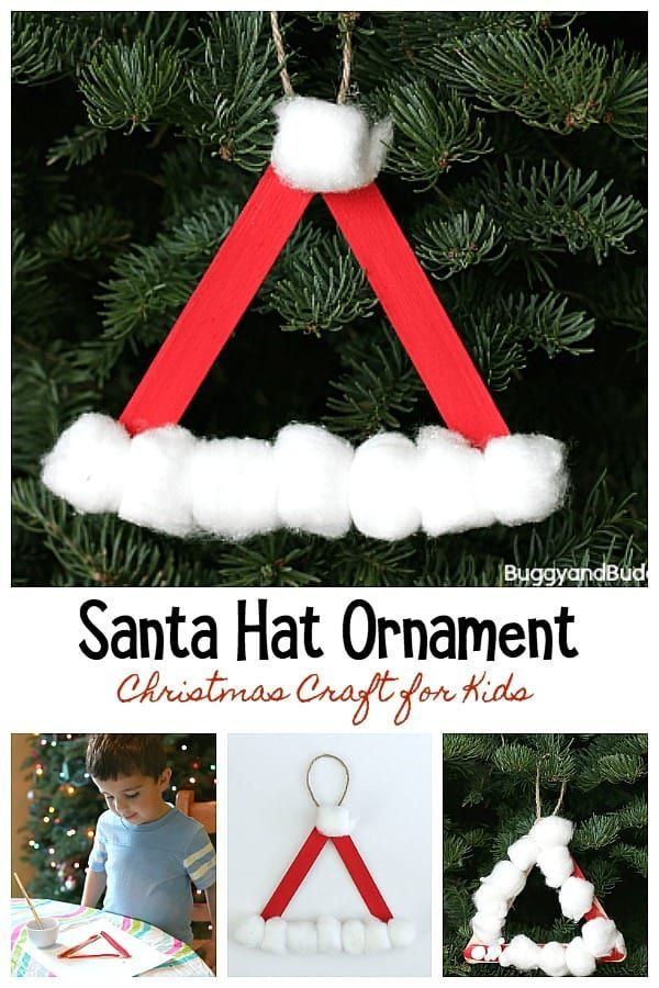 Santa Hat Homemade Christmas Ornament Using Craft Sticks Buggy And Buddy Kids Christmas Ornaments Christmas Ornament Crafts Christmas Ornaments