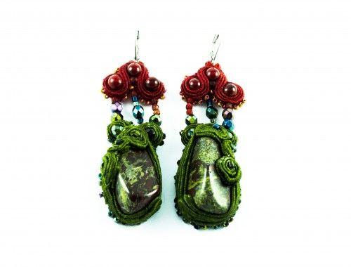 very unique earrings soutache green red sutasz kolczyki zielone czerwone stylenaut com