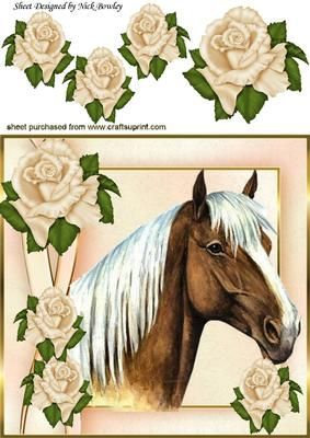 Lovely palamino horse with cream roses 8x8 on Craftsuprint - Add To Basket!