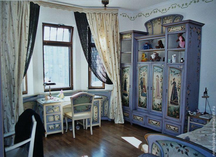 Роспись стен и мебели в детской комнате - детская мебель,мебель ручной работы
