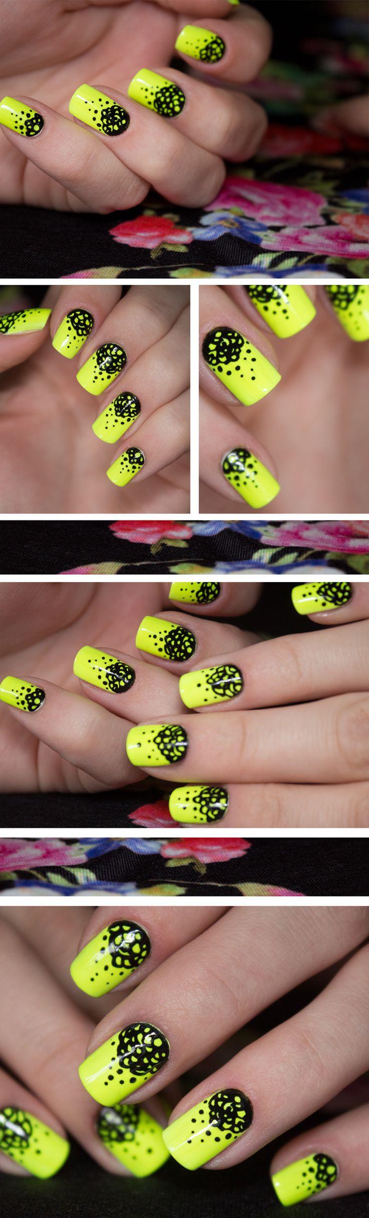Neon yellow & black nails #nail #nails #nailart