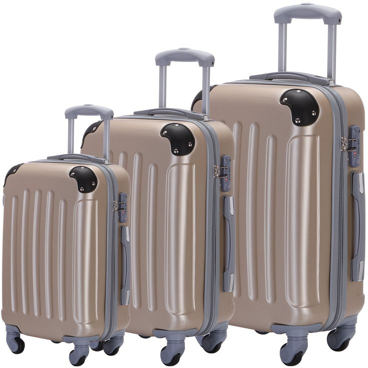Suitcase 3 Piece ABS Luggage Set Trolley Spinner Hardshell Lightweight Suitcases TSA