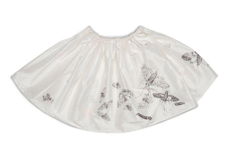 Silk Skirt handpainted moth pattern