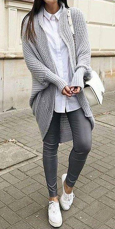#winter #fashion /  Grey Cardigan + Dark Skinny Jeans