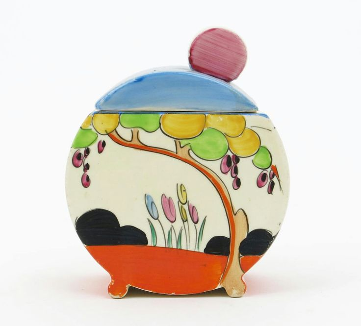 Vardon' a Clarice Cliff Bizarre Bon Jour preserve pot and cover