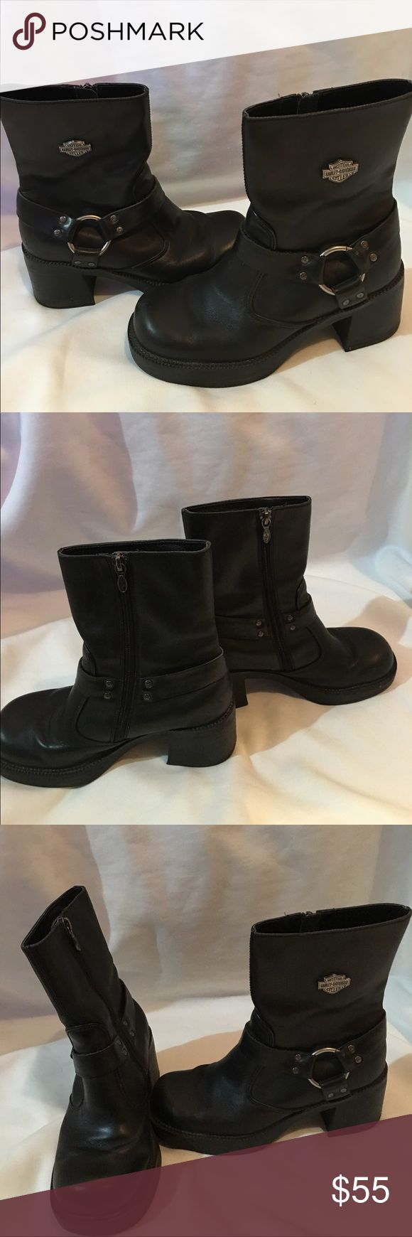 Harley Davidson Leatherboots In great condition Black leather Harley Boots Size 6 1/2 Harley-Davidson Shoes