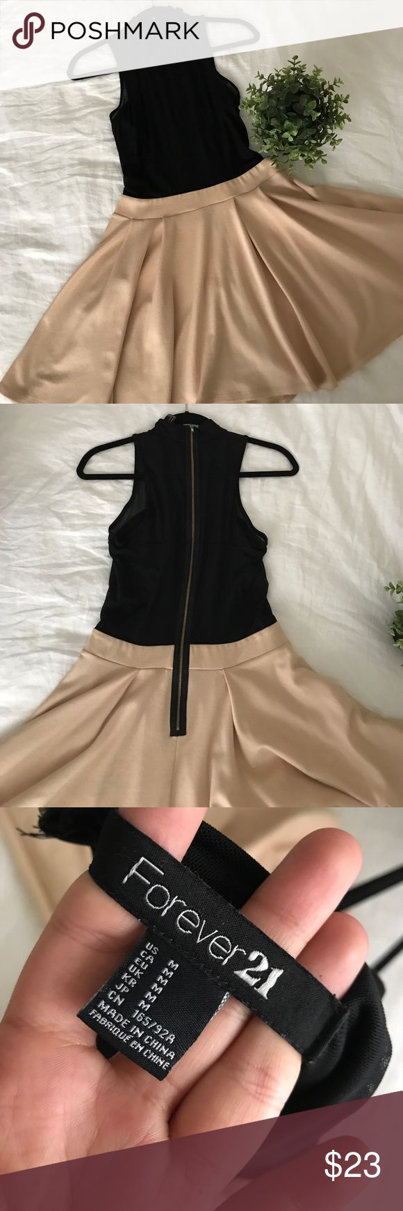 Mock Neck Mesh Forever 21 A Line Night Dress Hardly worn gorgeous dress. Perfect for homecoming. Exposed zipper and nude skirt with mesh neck. No stains or damage. In excellent condition. Price negotiable, make me an offer!✨ Don't forget to check out my closet for a bundle deal!💕  Ships today🛫 Forever 21 Dresses Mini