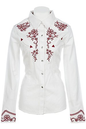 Panhandle Slim Ladies White w/ Red Embroidery L/S Retro Western Shirt