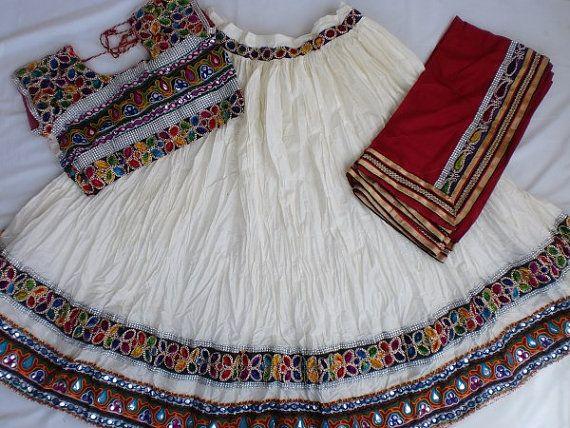 Navratri chaniya choli Designer Indian Off White and by mfussion, $98.00