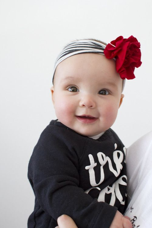 Baby E. wearing baby headband with vintage flower. ❤️ Mom & me style from Kastles  Spring 2015