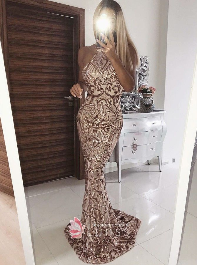 Sparkling coffee sequin mermaid long prom dress. Sleeveless slim fit mermaid  sweep train sequin prom gown. b407f320a