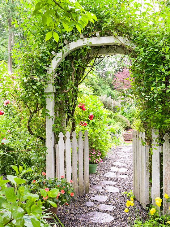 enter cottage-style garden stepping through  arbor covered by scrambling vine.
