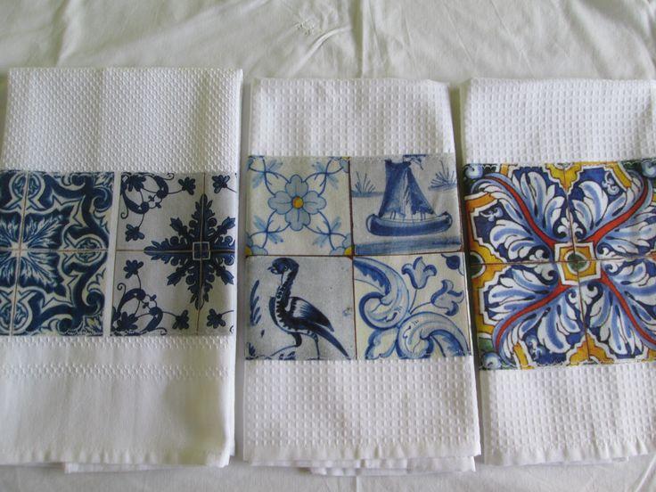Panos de loiça, com tecido Azulejos Portugueses
