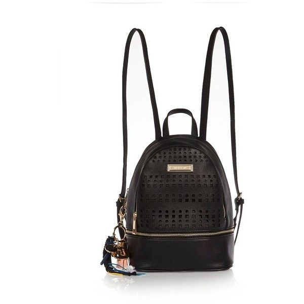 River Island Black laser cut backpack ($38) ❤ liked on Polyvore featuring bags, backpacks, black, zipper bag, rucksack bag, river island, tassel bag and zip handle bags