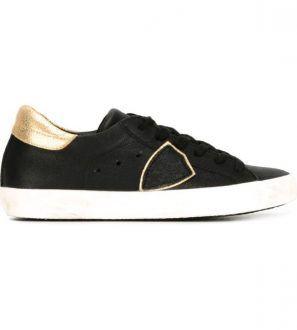 PHILIPPE MODEL - Scarpe sneakers nere e dorate Classic Bassa da donna