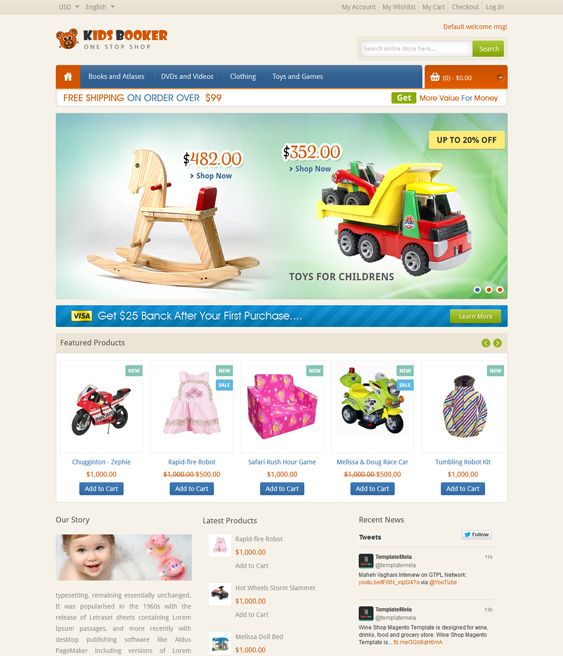 This Magento theme for kids offers a responsive layout, CSS3 and HTML5 code, a custom Magento framework, SEO-friendly code, 4 layout options, custom checkout, cart, customer, and product pages, and more.