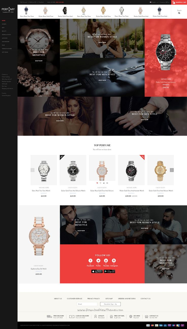 Perfomy is an awesome PSD template for perfume, #watch, cosmetics, jewelry or online fashion related #stores website with 26+ PSD files download Now➝ https://themeforest.net/item/perfomy-perfume-jewelry-accessories-psd-template/16724848?ref=Datasata