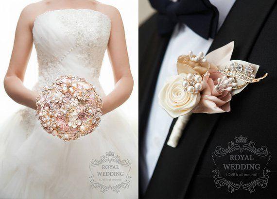 90f5800f3a6cc Rose Gold Wedding Bouquet Blush Pink Ivory Cream Brooch Bouquet Dress Bride  Bridesmaid Bridal Jewelr