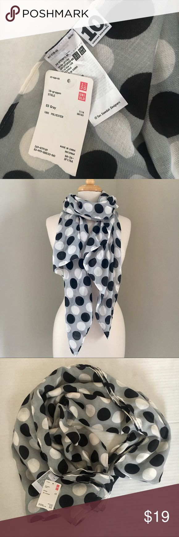 """NWT Uniqlo polka dot scarf gray white black New with tags scarf from Uniqlo. 10 Swedish Designers tag. Lightweight and breezy. Gray, white, and black. Large polka dot design. No flaws. Approx. 28"""" wide and 68"""" long. Questions & offers welcome! Accessories Scarves & Wraps"""