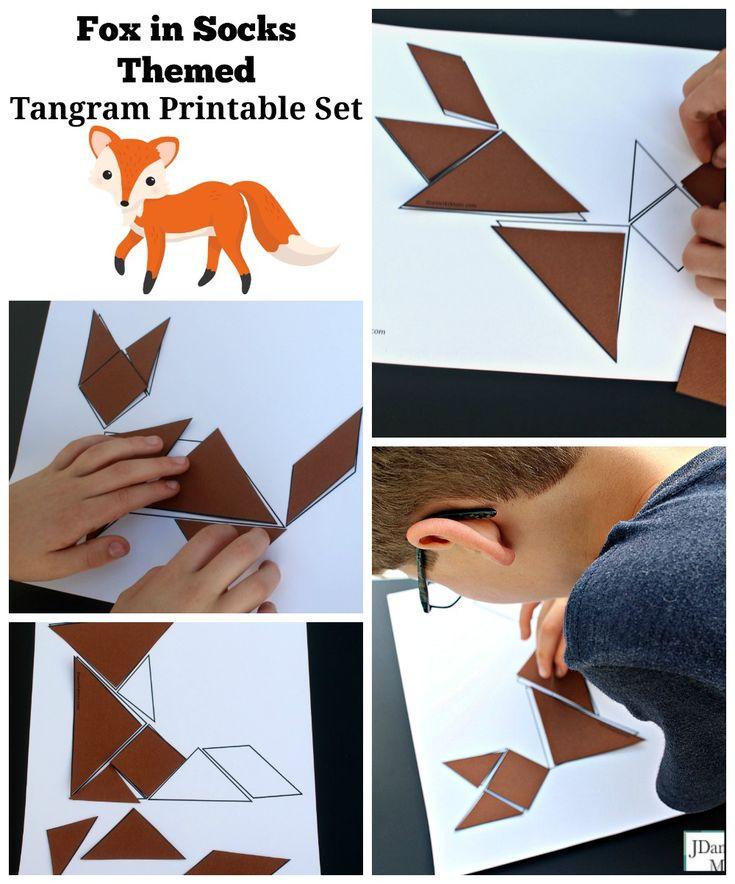 Fox in Socks Themed Tangram Printable Set