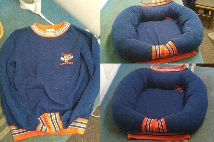 Reposador para bebés hecho con un suéter