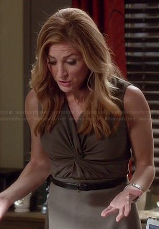 Maura's olive green twist front dress on Rizzoli and Isles.  Outfit Details: https://wornontv.net/45864/ #RizzoliandIsles