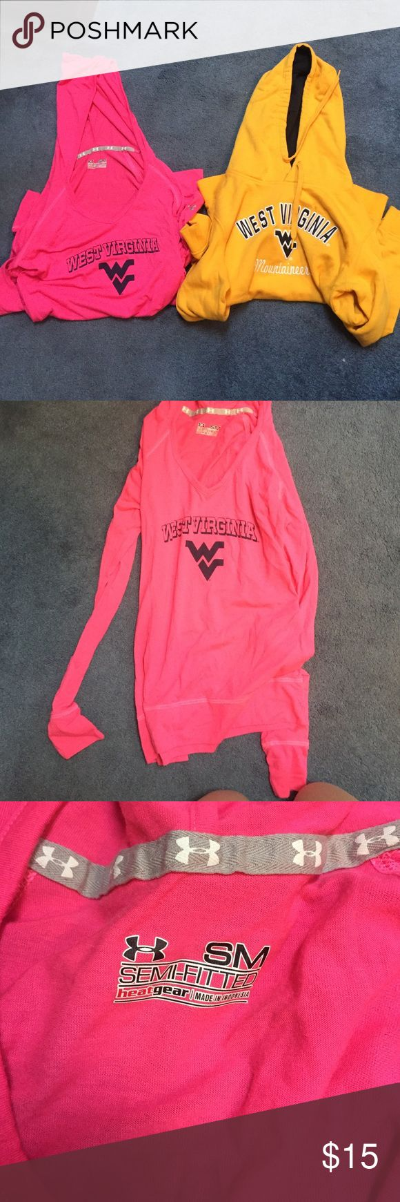 BUNDLE‼️ 1 under armour, hooted tee, 1 gold hoodie BUNDLE!! ANY WEST VIRGINIA FANS?? one under armour long sleeve hooded tee in pink! and one gold West Virginia hoodie from Colosseum athletics!! both in good condition! Under Armour Tops Sweatshirts & Hoodies