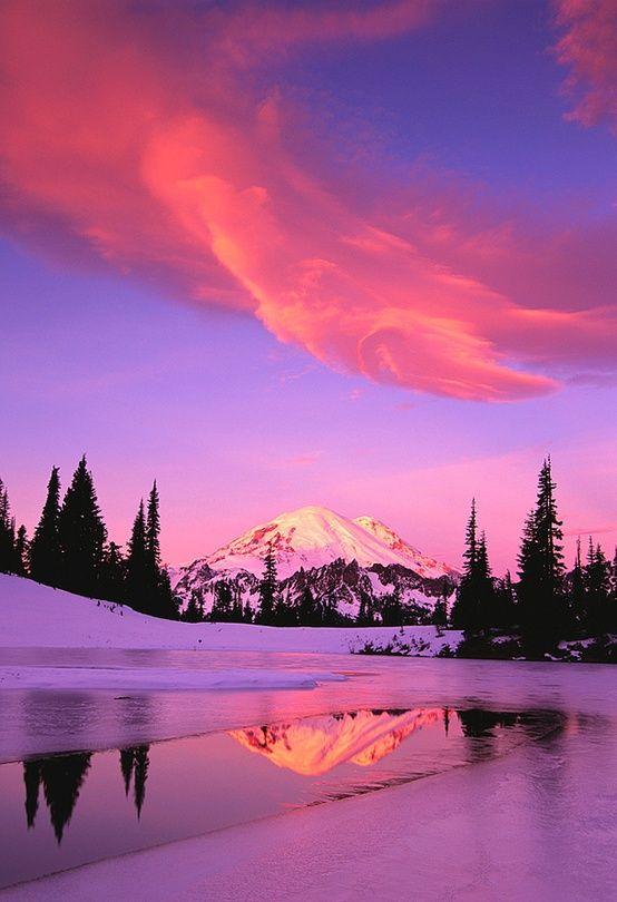 Sunrise over Mount Rainier in Washington - 4 more sunrises on our blog: http://www.ytravelblog.com/travel-pinspiration-beautiful-sunrises/