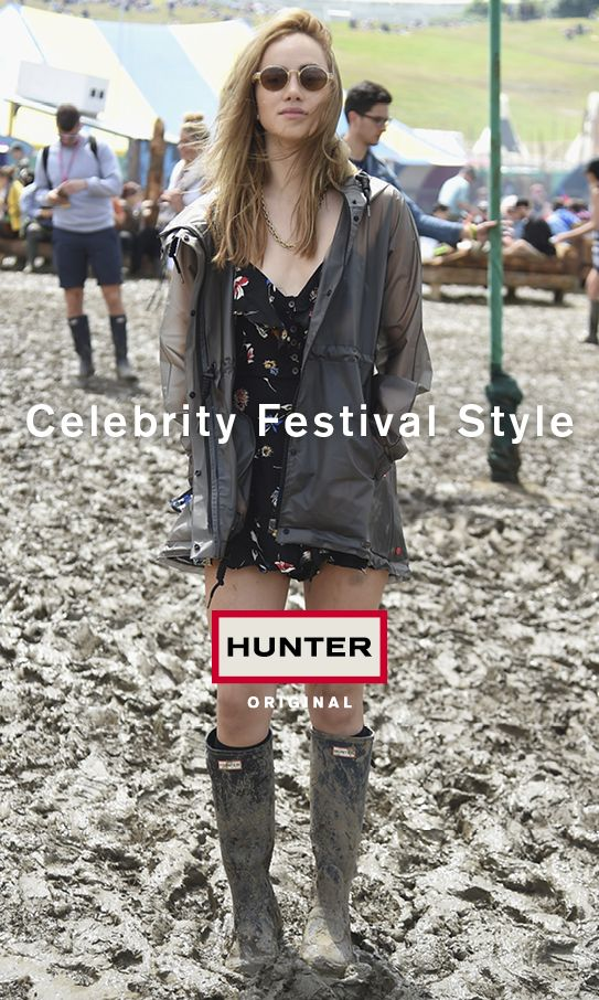 Nicholas Hoult, Alexa Chung, Suki Waterhouse and Lottie Moss lead the charge of celebrity festival goers wearing Hunter Original outerwear, footwear and accessories this season.
