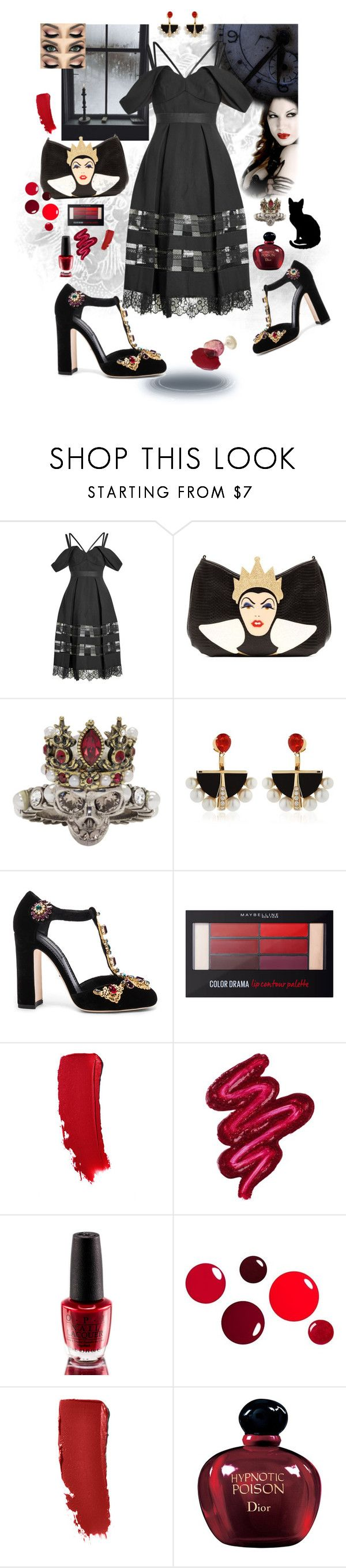 """Black Magic Biatch"" by ohnoflo ❤ liked on Polyvore featuring self-portrait, Danielle Nicole, Alexander McQueen, Lalique, Dolce&Gabbana, Maybelline, Obsessive Compulsive Cosmetics, OPI and Christian Dior"