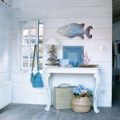 Coastal cottage beach house for Coastal wall decor ideas
