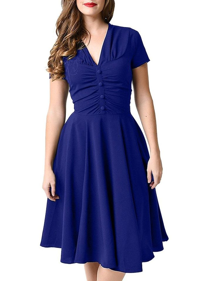 GownTown Womens Dresses V-neck 1950s Vintage Dresses Stretchy Swing Dresses at Amazon Women's Clothing store:  https://www.amazon.com/gp/product/B01EIYD1MC/ref=as_li_qf_sp_asin_il_tl?ie=UTF8&tag=rockaclothsto-20&camp=1789&creative=9325&linkCode=as2&creativeASIN=B01EIYD1MC&linkId=0a40261c7676c2c955c338a587150c21