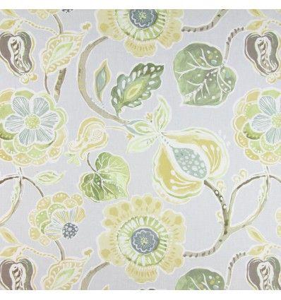Draperie bumbac florala galben si verde 1.37m latime Prestigious, Lamorna 5820-811